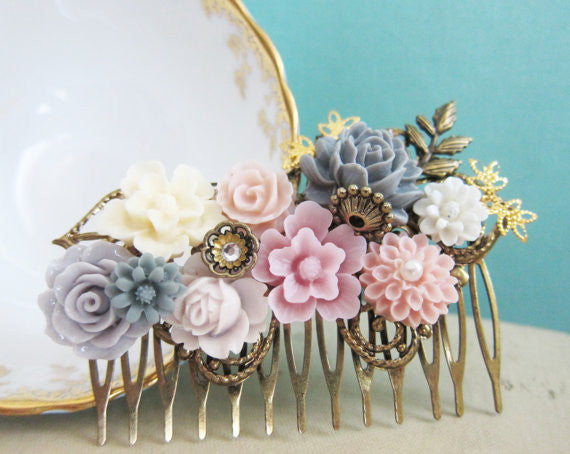 Shabby Chic Hair Accessories Pink Wedding Hair Comb Gray Mauve Lilac Blush Ivory Bridesmaid Gift Bridal Floral Head Piece Soft Dreamy Vintage Style - Paris Mariage Collection - Jewelsalem