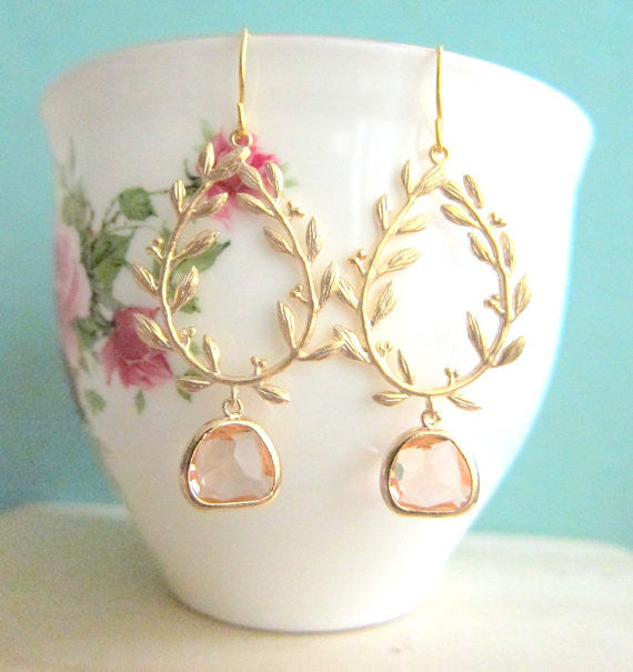 Peach Gold Earrings Champagne Wedding Bridal Jewelry Bridesmaid Gift Dangle Laurel Wreath Twine Branch Leaves Glass Drop Dangling Modern - Jewelsalem
