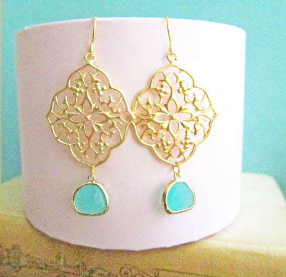Turquoise Gold Earrings Bridal Jewelry For Bride Dangling Earrings Aqua Wedding Something Blue Mint Glass Drop Dangle Earring Bridesmaids C1 - Jewelsalem