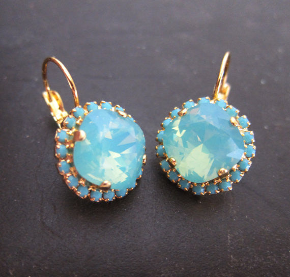 Delovely - Swarovski Crystal Pacific Opal Earrings - Jewelsalem