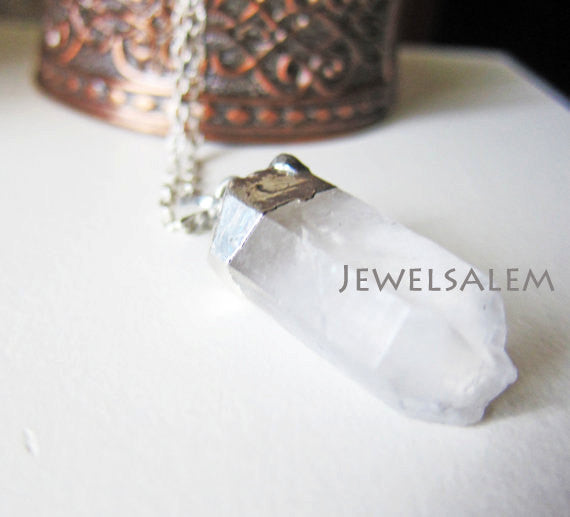 Clear Quartz Necklace Bohemian Crystal Geode Long Layered Raw Mineral Stone Pendant Gemstone Rock Natural Earthy Mineral Silver - Jewelsalem