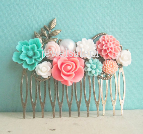 Mint Green Coral Wedding Hair Comb Peach Pink Aqua Turquoise Flower Floral Head Piece Bridal Hair Pin Pastel Colors Bridesmaid Gift - Jewelsalem