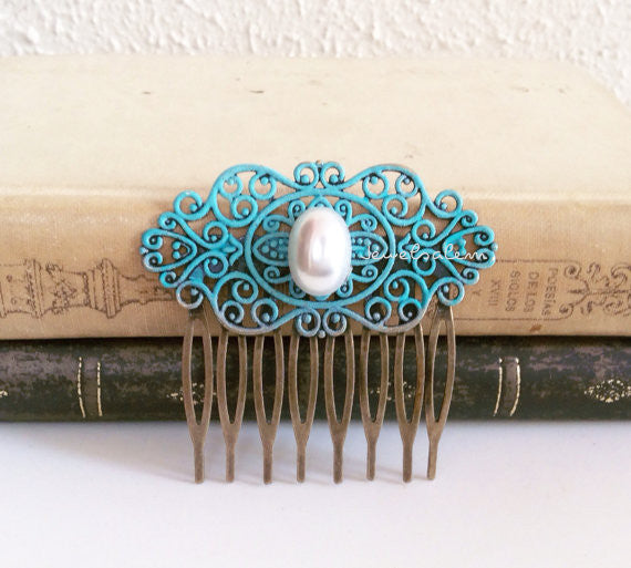 Turquoise Hair Comb with White Pearl Wedding Hair Accessories Pastel Blue Teal Wedding Bridesmaid Gift Bridal Headpiece Maid of Honor Mother Sister Gift Shabby Chic Vintage Style Comb - Jewelsalem
