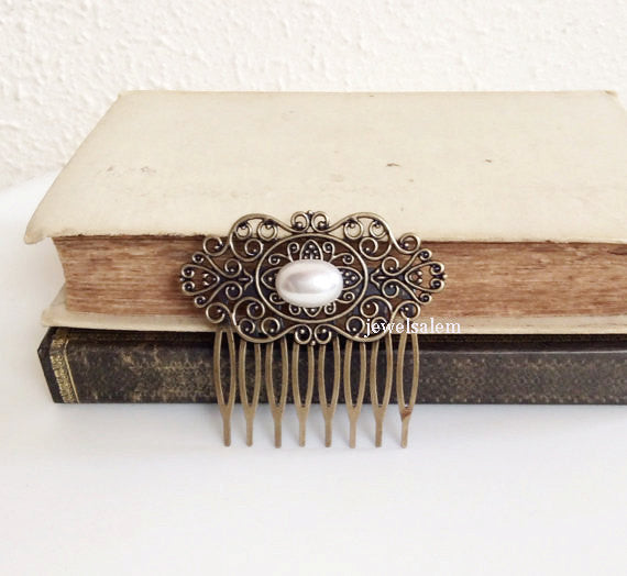 The Great Gatsby Hair Accessories White Pearl Hair Comb Victorian Wedding Vintage Inspired Bridesmaids Bridal Comb Antique Brass Woodland - Jewelsalem