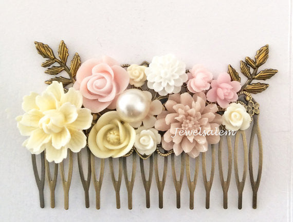 Blush Pink Wedding Headpiece Bridal Comb Pastel Pink Ivory Cream Romantic Wedding Hair Vintage Secret Garden Ethereal - Jewelsalem