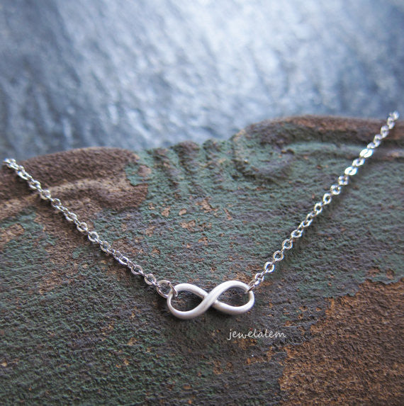 Silver Infinity Necklace Small Infinity Sign Pendant Charm Delicate Simple Everyday Casual Modern Jewelry Bridesmaids Friendship Gift C1 - Jewelsalem