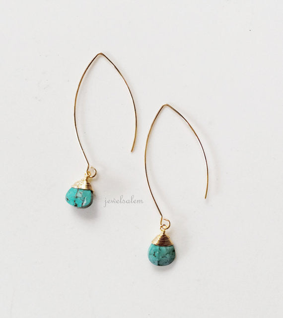 Turquoise Stone Earrings Gold Wire Wrapped Blue Tear Drop Gemstone Simple Rustic Dangling Modern Casual Every Day Jewelry Gift for Her C1 - Jewelsalem