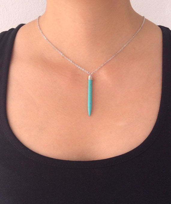 Turquoise Necklace Silver Blue Stone Modern Thin Long Bullet Arrow Rustic Casual Simple Every Day Layered Layering Necklace C - Jewelsalem