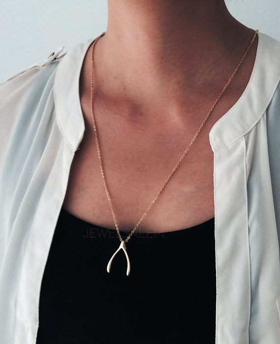 Wishbone Necklace Gold Large Wish Bone Statement Big Wishbone Simple Everyday Lucky Charm Casual Modern Jewelry Chic Friendship Gift C1 - Jewelsalem