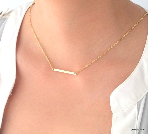 Gold Bar Necklace Thin Long Modern Small Rectangle Rustic Casual Simple Every Day Layered Layering Necklace C1 - Jewelsalem