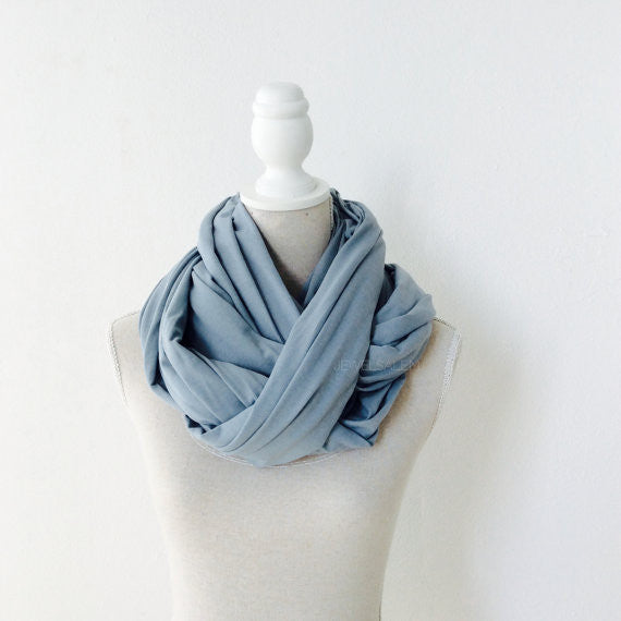 Blue Scarf Cowl Long Infinity Wrap Scarf Loop Circle Scarf Fall Fashion Winter Gray Slate Blue Dusk Modern Chic Simplistic Minimalist - Jewelsalem