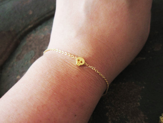 Gold Small Skull Bracelet Jewelry Simple Everyday Dainty Modern Friendship Gift Sister Girlfriend Best Friend C1 - Jewelsalem