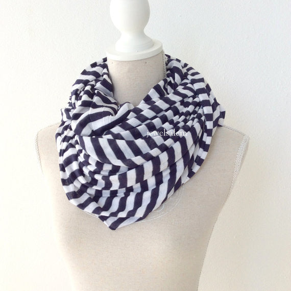 Navy White Stripe Scarf Long Cowl Infinity Wrap Scarf Loop Circle Scarf Fall Fashion Winter Navy Blue White Nautical Modern Chic Simplistic Minimalist - Jewelsalem
