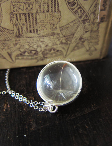 Silver Dandelion Necklace in a Glass Bulb Magnifying Ball Necklace Gift Terrarium Jewelry - Jewelsalem