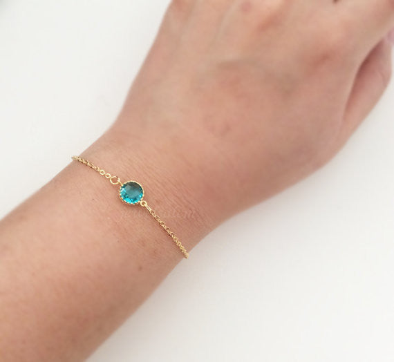 Aquamarine Bracelet Gold Small Blue Zircon Sapphire Stone Bracelet Modern Dainty Personalized Gift Sister Best Friend Bridesmaids C1 - Jewelsalem