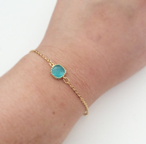 Gold Bracelet Small Stone Bracelet Modern Jewelry Simple Everyday Dainty Personalized Bridesmaids Friendship Gift Sister BFF Best Friend C1 - Jewelsalem
