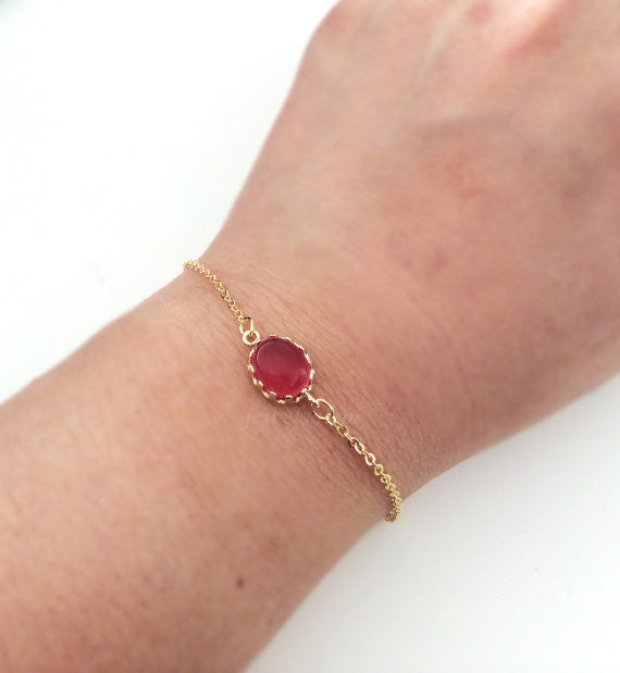 Red Bracelet Personalized Gift Gold Ruby Red Stone Bracelet Modern Jewelry Dainty Chic Sister Friendship Best Friend Wedding Bridesmaids C1 - Jewelsalem