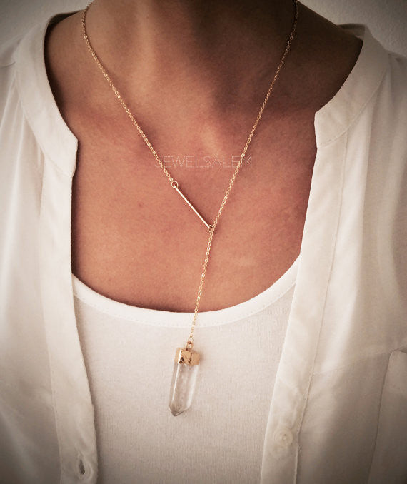 Gold Lariat Necklace Small Thin Bar Clear Quartz Gemstone Layering Long Modern Jewelry Gift for Mother Sister Best Friend C1 - Jewelsalem