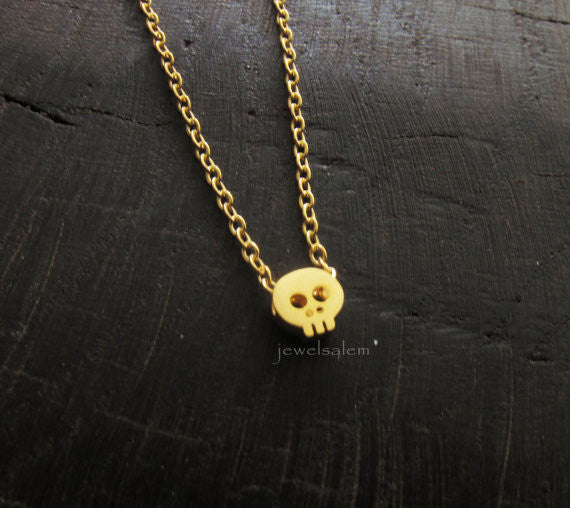 Gold Skull Necklace Small Skull Jewelry Simple Everyday Dainty HALLOWEEN Modern Friendship Gift Sister Girlfriend Best Friend C1 - Jewelsalem