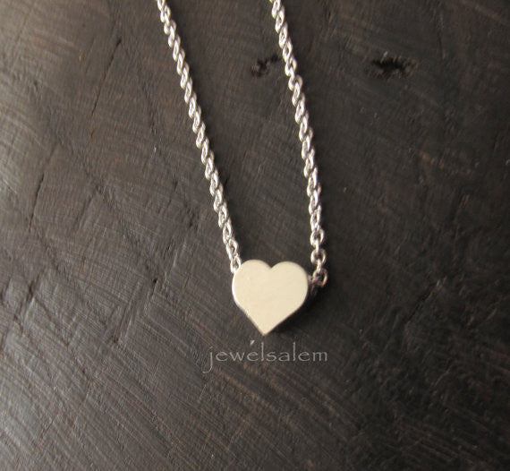 Silver Heart Necklace Small Heart Jewelry Dainty Modern Simple Everyday Friendship Gift Sister Girlfriend Best Friend Bridesmaids C1 - Jewelsalem