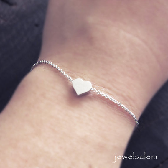 Silver Heart Bracelet Small Heart Jewelry Tiny Heart Gift Dainty Modern Minimalist Rustic Friendship Sister Best Friend Bridesmaids C1 - Jewelsalem