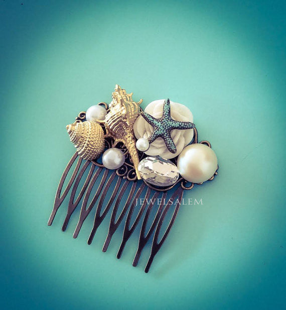 Seashell Hair Comb Beach Wedding Headpiece Starfish Hair Pin Gold White Ivory Pearl Bridal Comb Seaside Summer Vintage Style Hair Slide - Jewelsalem