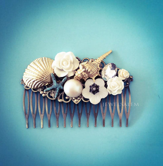 Gold Seashell Hair Comb Starfish Hair Slide Beach Wedding Bridal Headpiece White Ivory Pearl Bridal Comb Seaside Quaint Outdoor Wedding - Jewelsalem