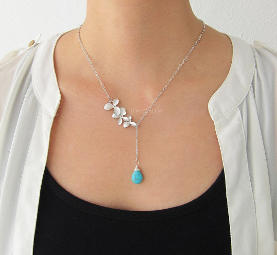 Silver Lariat Necklace Floral Leaf Orchid Chain Turquoise Gemstone Layering Long Modern Jewelry Gift for Mother Sister Best Friend C1 - Jewelsalem