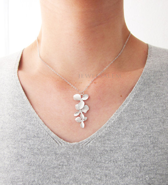 Cascading Modern Jewelry Orchid Necklace Silver Gold Long Layered Floral Necklace Minimalist Bridesmaids Gift Wedding Elegant Bridal C1 - Jewelsalem