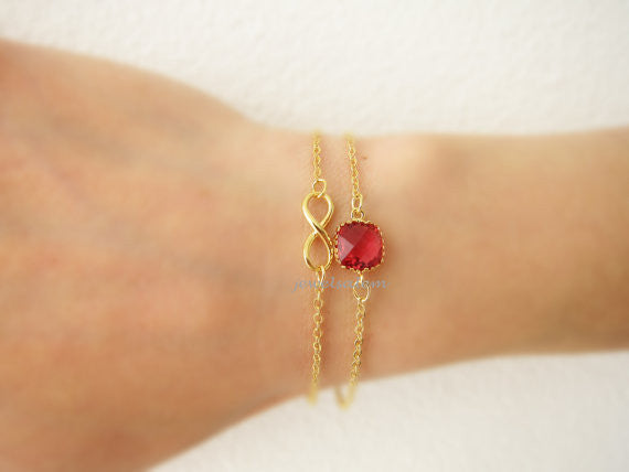 Infinity Bracelet Gold Stacking Bracelet Ruby Red Stone Modern Jewelry Chic Dainty Personalized Gift Friendship Sister Best Friend C1 - Jewelsalem