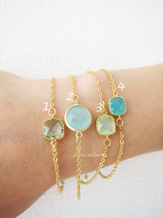 Stacking Bracelet Gold Mint Turquoise Modern Jewelry Aqua Teal Small Stone Simple Dainty Personalized Friendship Gift Sister Best Friend C1 - Jewelsalem