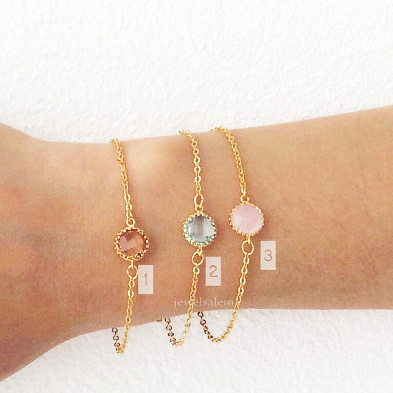 Gold Stacking Bracelet Pink Peach Mint Green Stone Chic Dainty Personalized Modern Jewelry Gift Friendship Sister Best Friend C1 - Jewelsalem