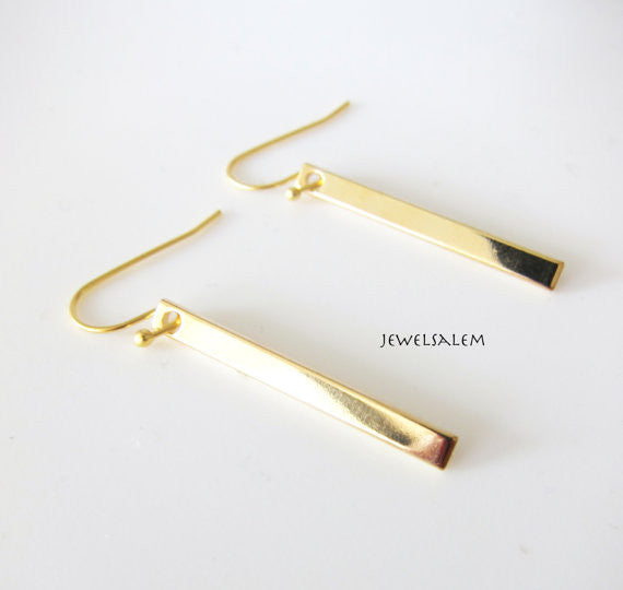 Gold Bar Earrings 14kt Gold Filled Hook Small Thin Modern Rustic  Long Rectangle Dangling Earrings Casual Simple Every Day Jewelry C1 - Jewelsalem