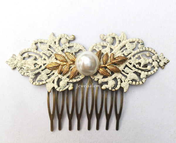 Pearl Hair Comb Bridal Hair Slide Ivory Wedding Hair Accessory for Bride Bridesmaids Gift - Jewelsalem