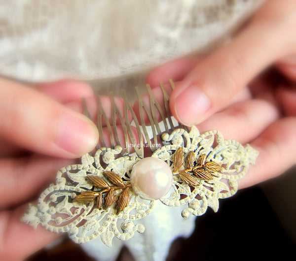 Ivory Pearl Comb Wedding Hair Slide Elegant Victorian Gold Leaves Downton Abbey Inspired - Jewelsalem