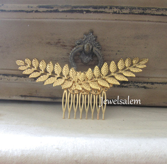 Gold Leaf Hair Comb Wedding Hair Comb Bridal Headpiece Bohemian Chic Woodland Hair Pin Modern Victorian Hair Slide for Bride - Jewelsalem
