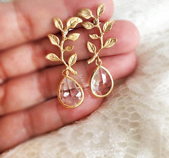 Gold Leaf Earrings, Bridal Earrings, Modern Wedding Jewelry, Gold Crystal Dangling Earrings, Bridesmaids Earrings Set, Bridesmaids Gift - Jewelsalem  - 1