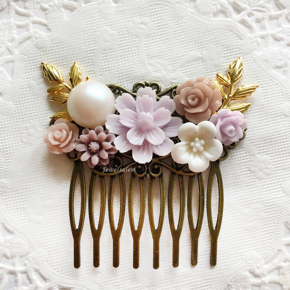 Romantic Lilac Blush Pink Wedding Hair Comb with Gold Leaves - Jewelsalem