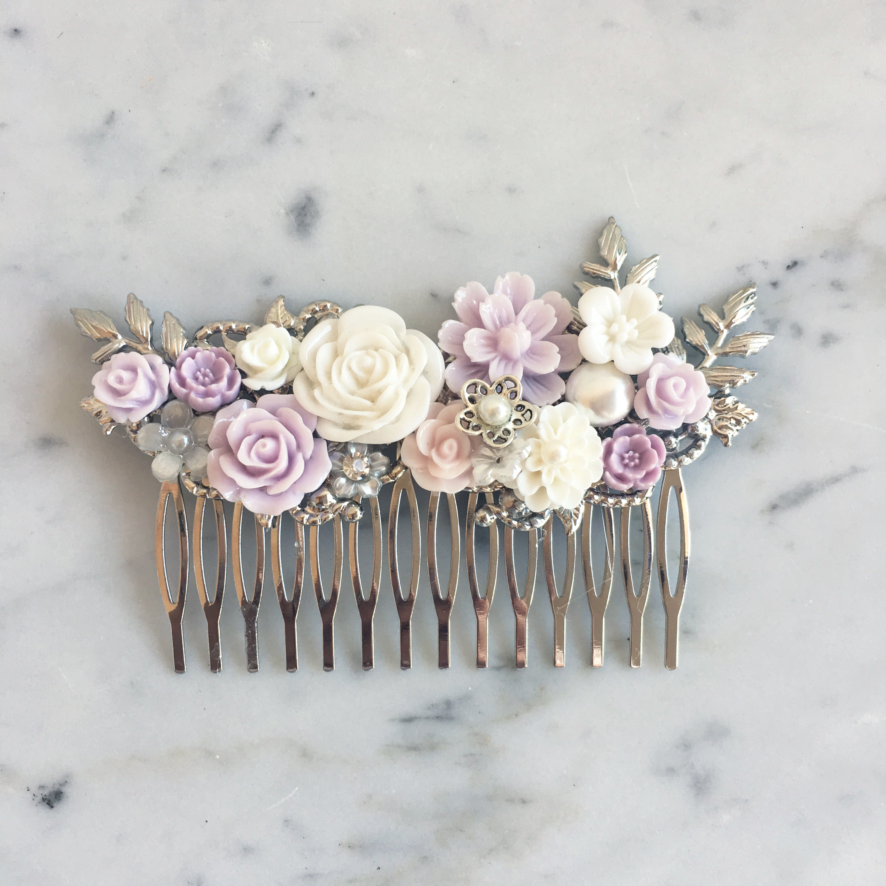 Amethyst - Lilac Wedding Hair Comb Soft Purple Iris Bridal Hair Pin