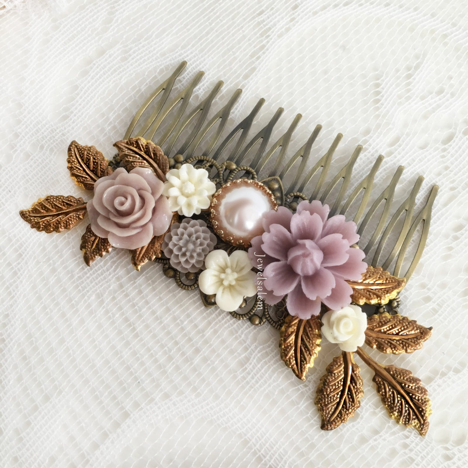 Bridal Hair Comb Lilac Wedding Hair Accessories Soft Purple Hair Slide for Bride Modern Chic Elegant Headpiece Rustic Wedding - Jewelsalem