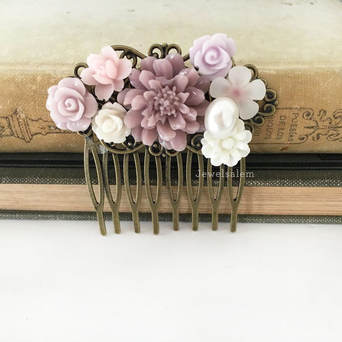 Lavender Orchid Flower Headpiece Lilac Wedding Hair Comb Mauve Soft Purple Dusty Pink Light Woodland Bridal Floral Hair Pin Bridesmaid PM - Jewelsalem