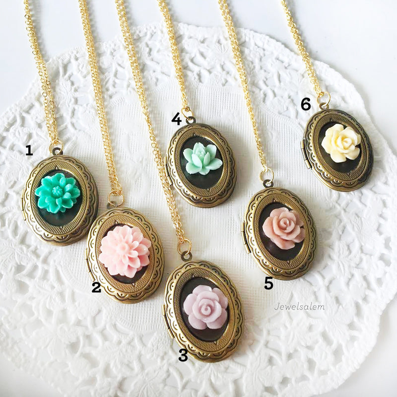 Flower Lockets, Gift for Bridesmaids, Sister Locket, Friendship Locket, Vintage Dainty Romantic Style - Jewelsalem