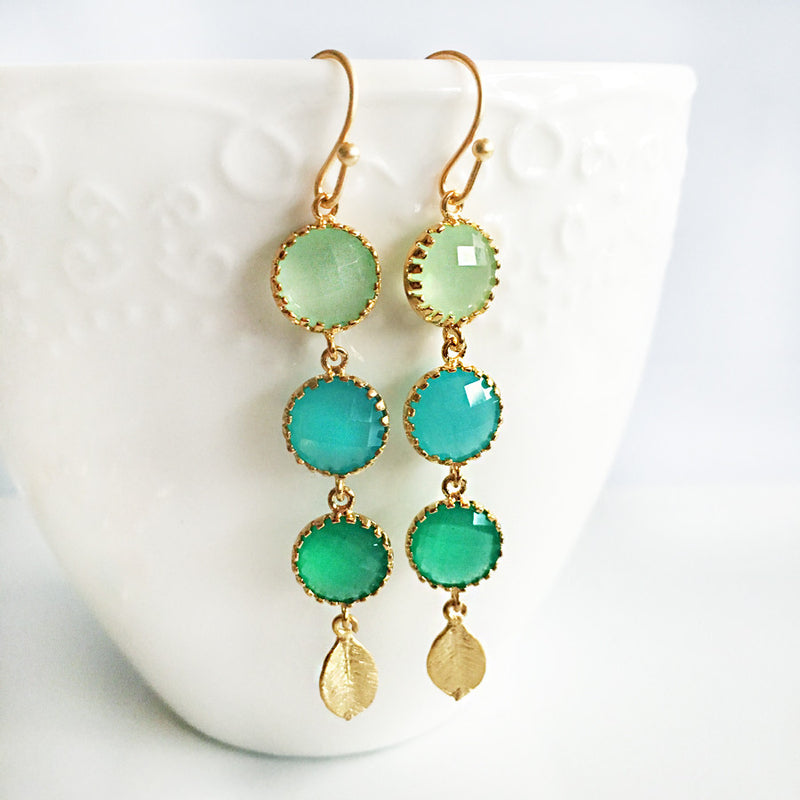 Helena Earrings - Ombre Mint Teal Gold Leaf Earrings - Jewelsalem