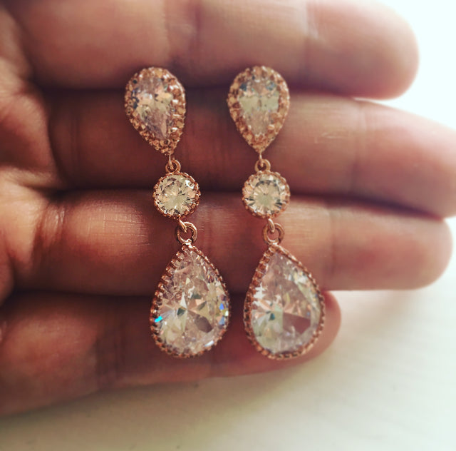 Georgia - Rose Gold Long Cubic Zirconia Bridal Earrings