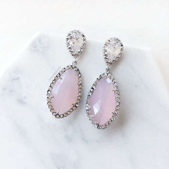 Alexis - Mauve Blush Pink Cubic Zirconia Earrings