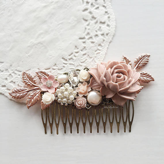Limited Edition Mayfair - Pastel Mauve Pink Rose Gold Wedding Hair Comb