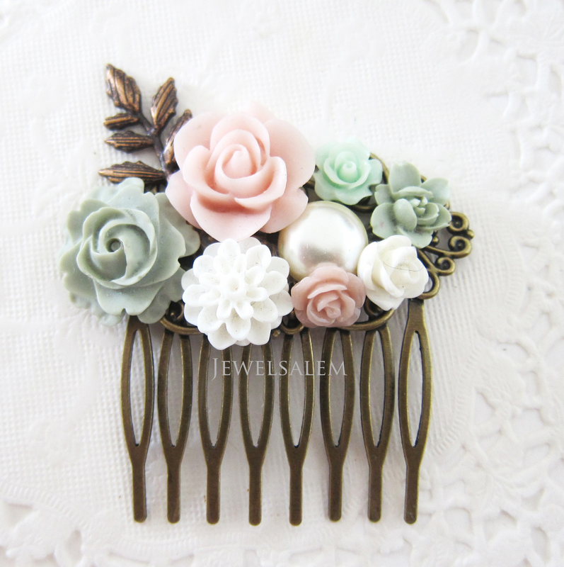 Hair Comb Wedding Hair Comb Bridal Comb Hair Accessories Blush Pink Mint Sage Green Romantic Hair Slide Flower Hair Comb - Jewelsalem