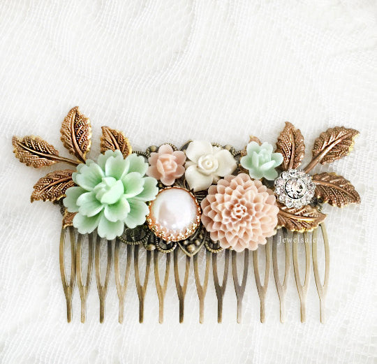 Lady Anne - Bridal Hair Comb Mint Green Blush Pink Flower Headpiece