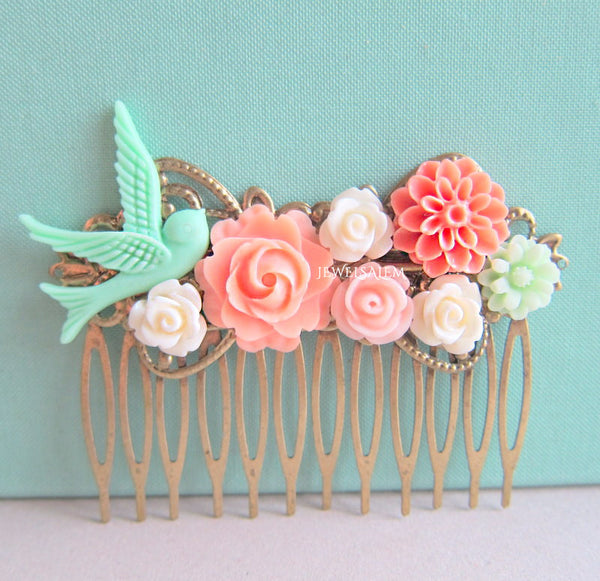 Coral Mint Green Wedding Hair Comb Bridesmaid Gift Peach Pink Mint Bridal Head Piece Floral Flower Bird Pastel Colors Soft Romantic - Jewelsalem