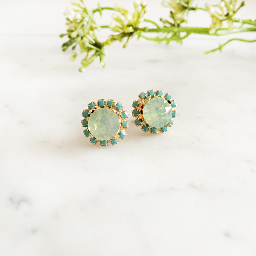 Delovely - Mint Chrysolite Swarovski Crystal Wedding Earrings